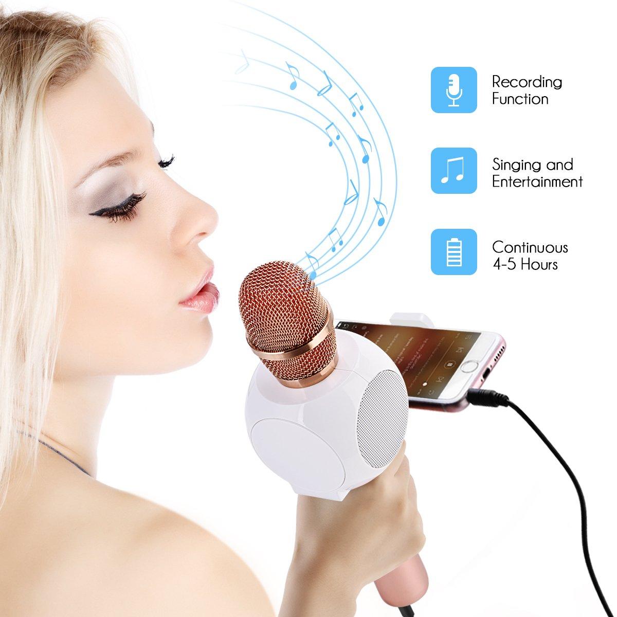 oro rosa Micr/ófono del Karaoke del PDA para el Hogar KTV HURRISE Micr/ófono Inal/ámbrico Port/átil Micr/ófono y Altavoz del Karaoke de Bluetooth Sistema Android y Tabletas Conectando con iOS
