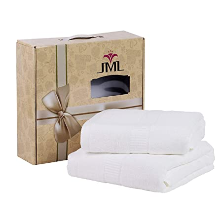 Jml Bath Towels, 580GSM Heavy Bamboo Bath Towels (2 Pack, 27' x 55') - Soft, Absorbent, Antibacterial and Hypoallergenic, Odor Resistant Bath Towel Sets, White