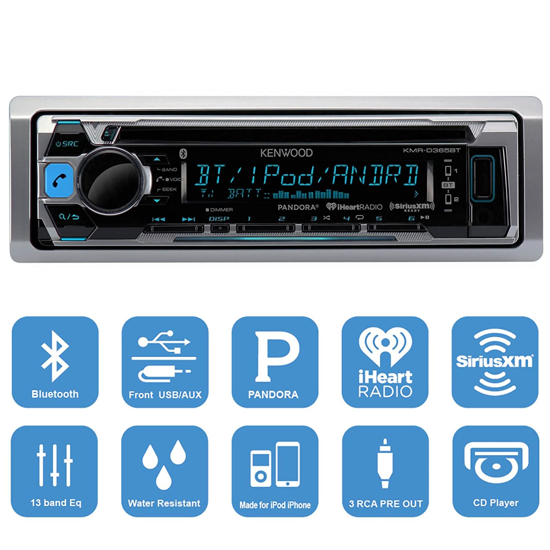 Amazon.com: Kenwood Bluetooth CD Radio Receiver KMR-D365BT In-Dash ...