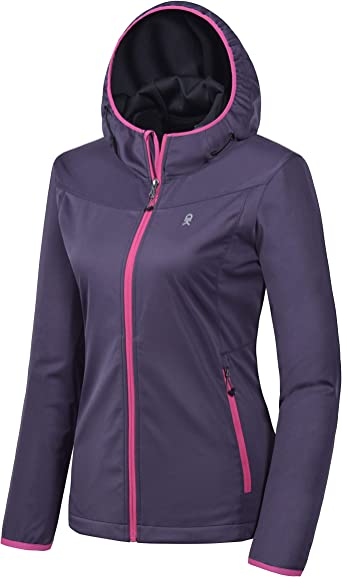 Little Donkey Andy Women's Lightweight Hooded Softshell Jacket for Running Travel Hiking, Windproof, Water Repellent