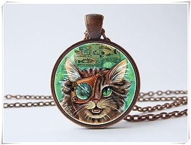 JUN Steampunk Collar de gato steampunk joyería gato collar punk joyería colgante steampunk gato punk collar divertido regalo gato colgante unisex regalo: ...
