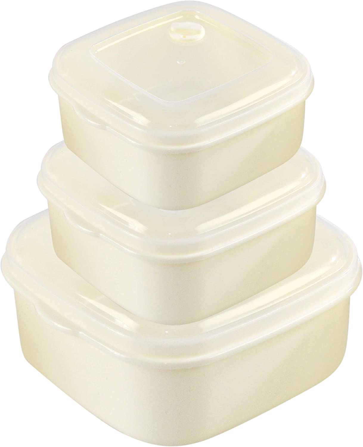 HOME-X Square Food Storage Containers, Microwave Cookware, Easy Storage – 15 oz / 27 oz / 50 oz Capacity - Set of 3 – Cream