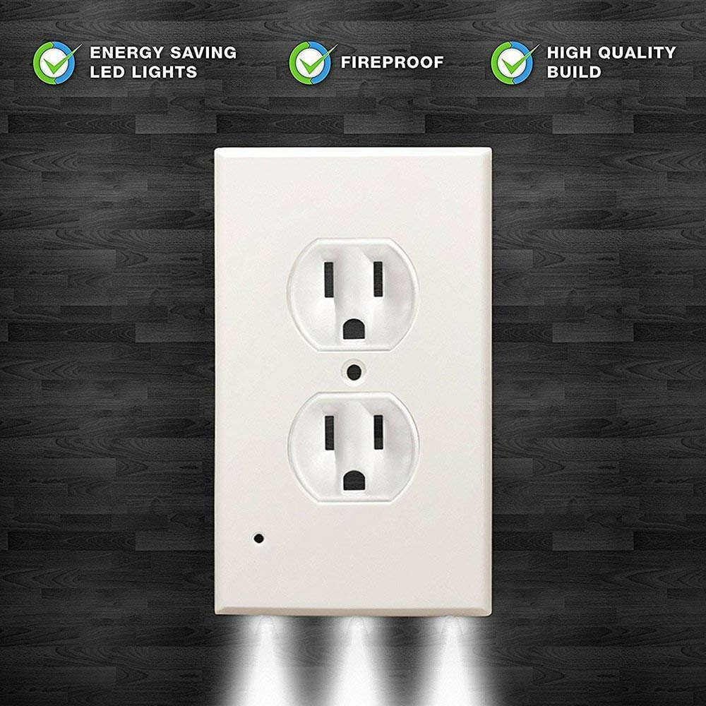 Guidelight Outlet Wall Plate With LED Night Lights, Outlet Cover With No Battery and Wires Easy Installation In Seconds For Home Kitchen Bedroom Hallway Stairway Garage Utility Room by Smart Eletrical (Image #6)