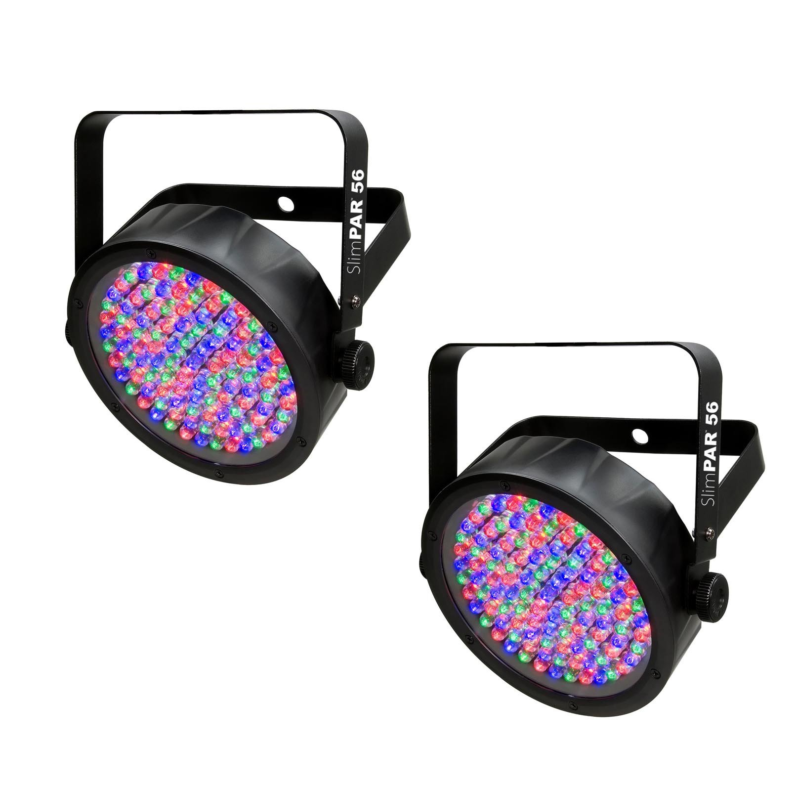 (2) Chauvet DJ SlimPar 56 LED DMX Slim Par Can Stage Pro RGB Lighting Effects