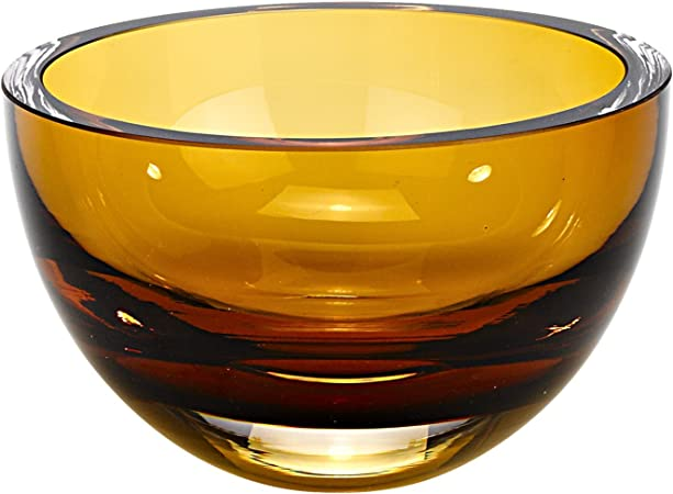 World Gifts 6 Inch Amber Colored Mouth Blown European Lead Free Crystal Bowl Home Kitchen Amazon Com
