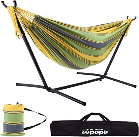 Double Hammock Stand Portable Swing Chair Steel Frame Garden Outdoor Camping