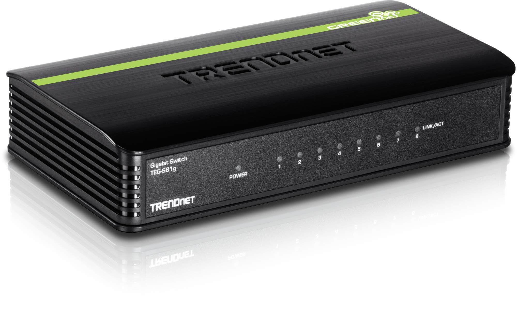 TRENDnet 8-Port Unmanaged Gigabit GREENnet Desktop Switch, 16 Gbps Switching Fabric, TEG-S81G by TRENDnet