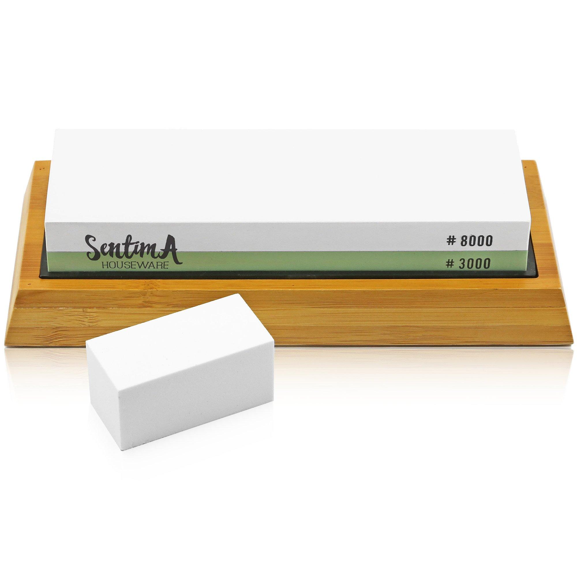 Premium Whetstone Knife Sharpener - 3000/8000 Grit Two Sided Wet Sharpening Stone - Bamboo Base & Flattening Stone