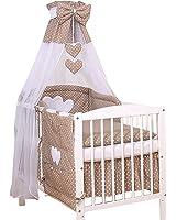 Ciel de lit bébé enfant voile avec bande marron à pois à coeurs