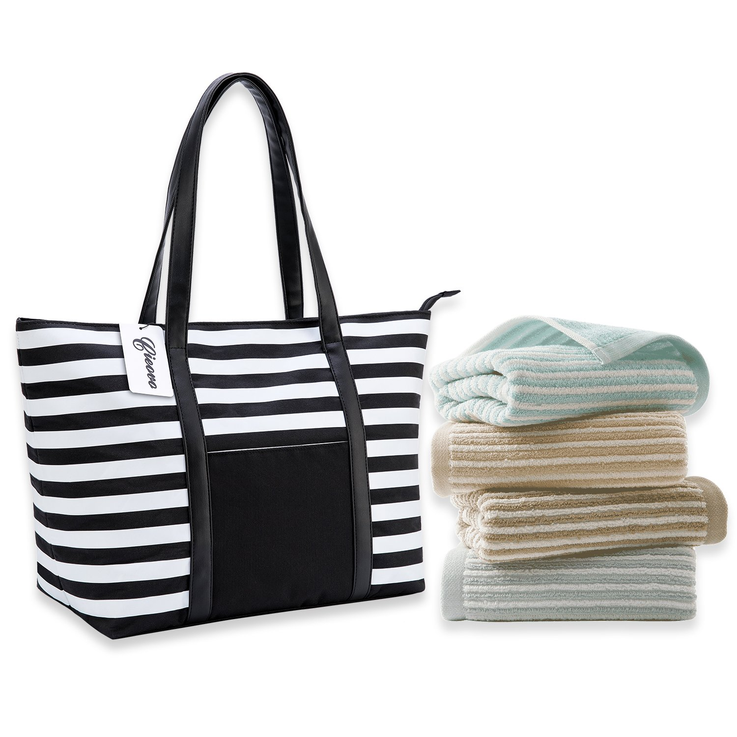 Cieovo Large Beach Bag For Women Waterproof Oxford Tote Bags With Leather Handle (Black-White Stripe, Large)