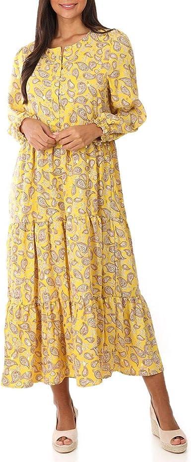 La Modeuse Robe Longue Fluide A Volants Amazon Fr Vetements Et Accessoires