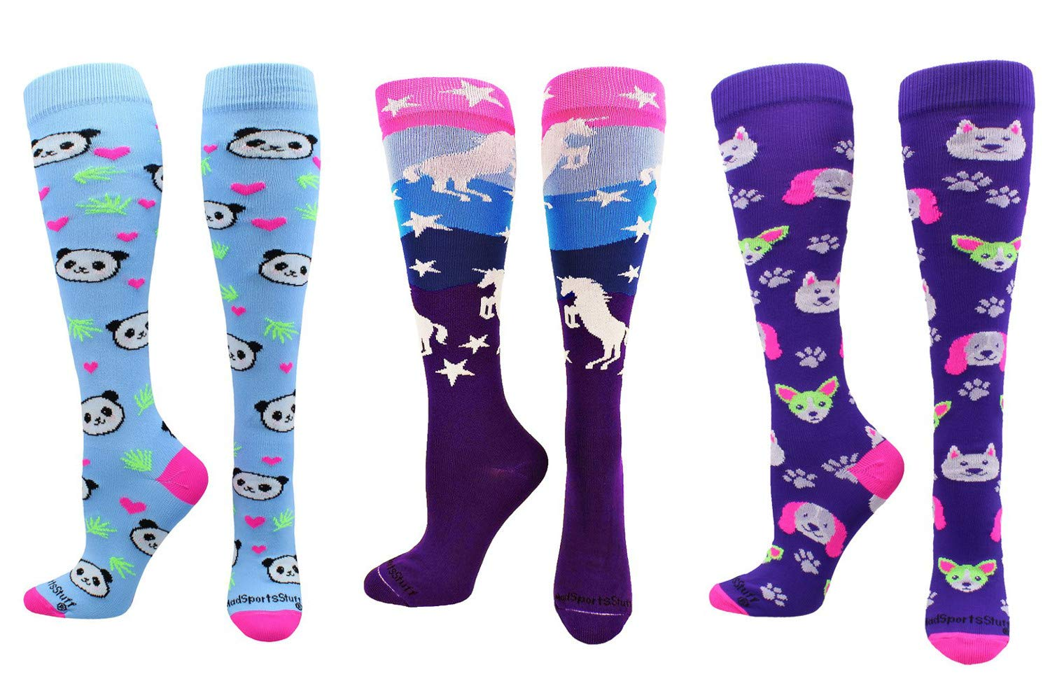 MadSportsStuff Neon Puppy Dogs Over The Calf Athletic Socks