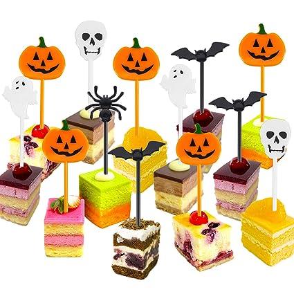Plastica Halloween Stuzzicadenti Halloween Cupcake Topper Stuzzicadenti  Fantasma Decorazione per i Bambini Festa di Compleanno Festa 1b9f17c2c0cc
