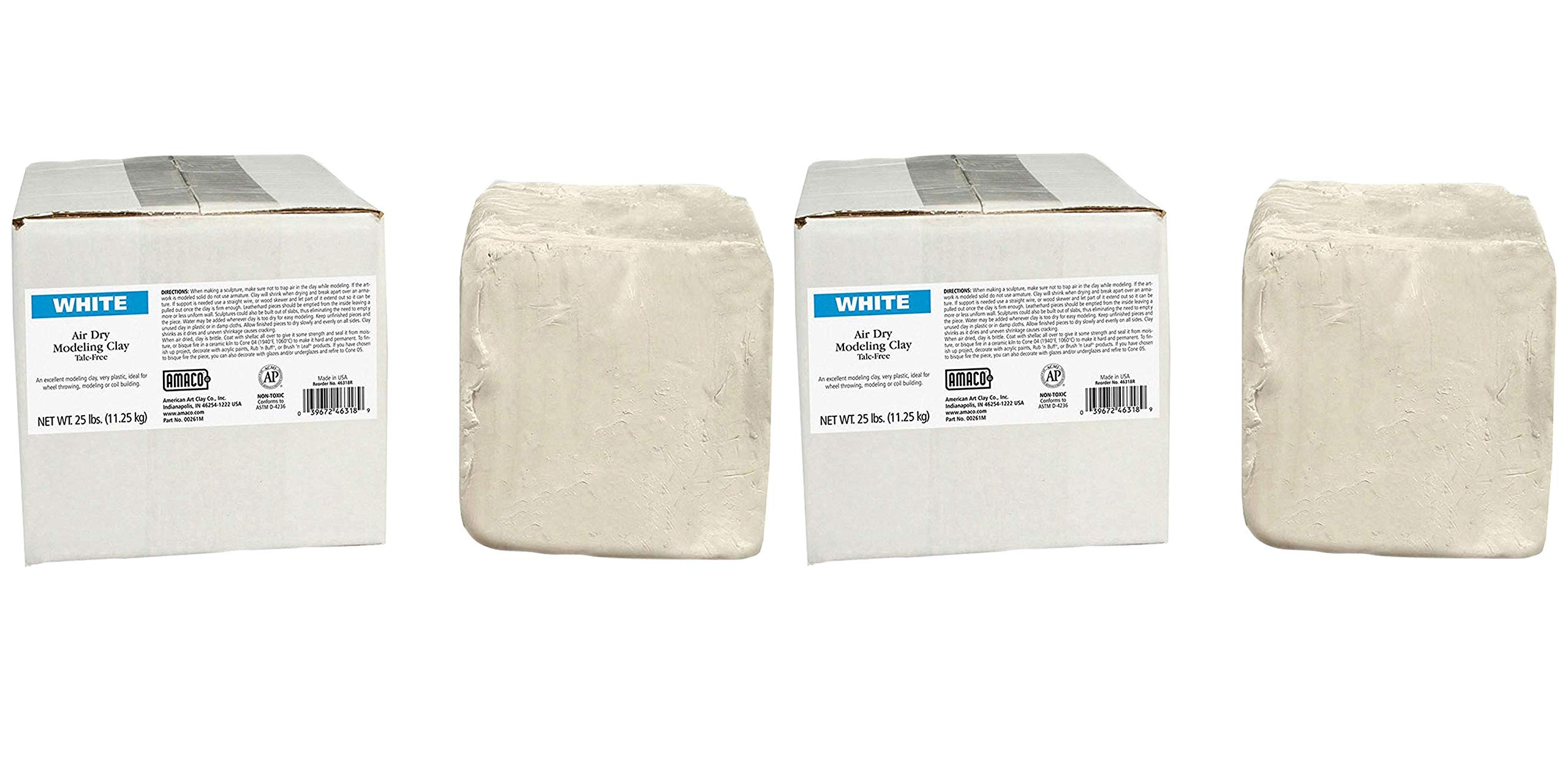 AMACO AMA46318R Air Dry Clay, White, 25 lbs. (Pack of 2)