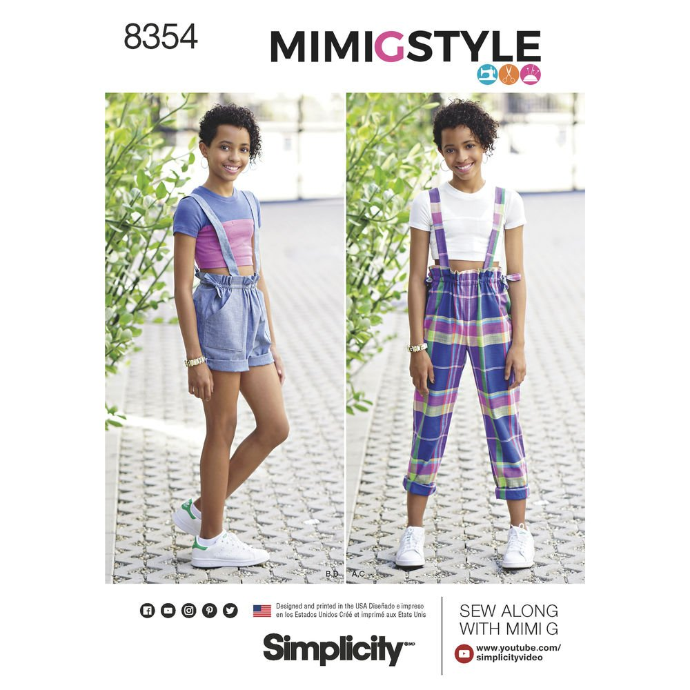 Simplicity Pattern 8354 AA Girls' & Girls Plus Overall & Cropped Knit Tee by Mimi G Style, Size 8-10-12-14-16 Simplicity Patterns US8354AA