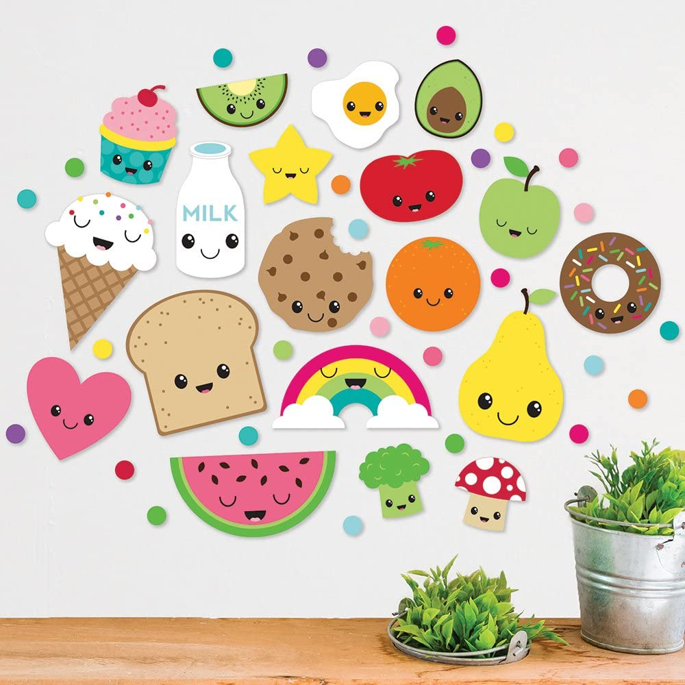 Paper Riot Co. Bright Kawaii Cartoon Food Wall Decals. Includes 19 Characters and 128 Multi-Color Dot Peel and Stick Decor, Easy to Remove Vinyl Decals. Safe on Painted Walls or Smooth Surfaces
