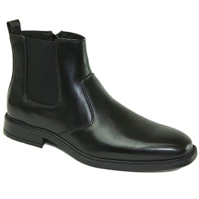 alpine swiss Nyon Mens Chelsea Boots Easy Slip on Zipper BLK US 8
