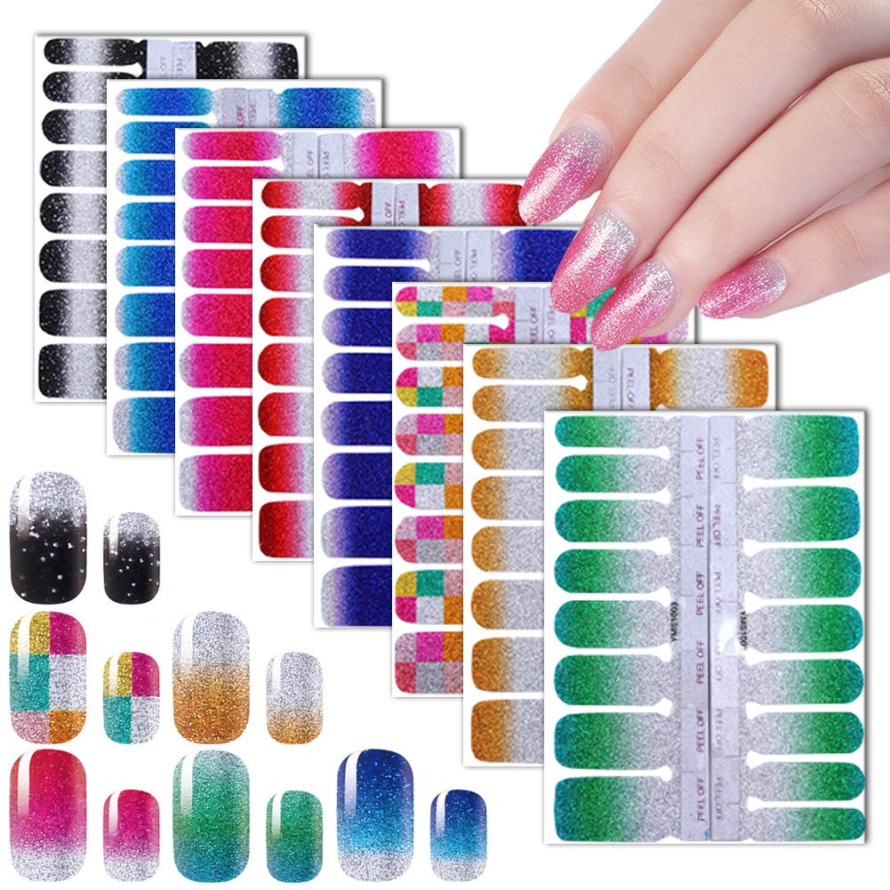 Nail Wraps Stickers for Women Glitter Nail Polish Strips 8 Shees Full Nail Art Stickers Self-Adhesive Nail Decals Fingernail Decorations DIY Manicure Nail Art Supplies Accessories by Stardo