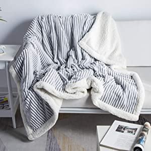 DISSA Sherpa Fleece Blanket Throw Blanket Soft Blanket Plush Fluffy Blanket Warm Cozy with Grey and White Strip Perfect Throw for All Seasons for Couch Bed Sofa (Grey, 51