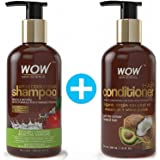 COMBO: WOW Apple Cider Vinegar Shampoo (300 ml) + Wow Hair Conditioner (300ml) - Sulphate & Paraben Free (1 Pack)