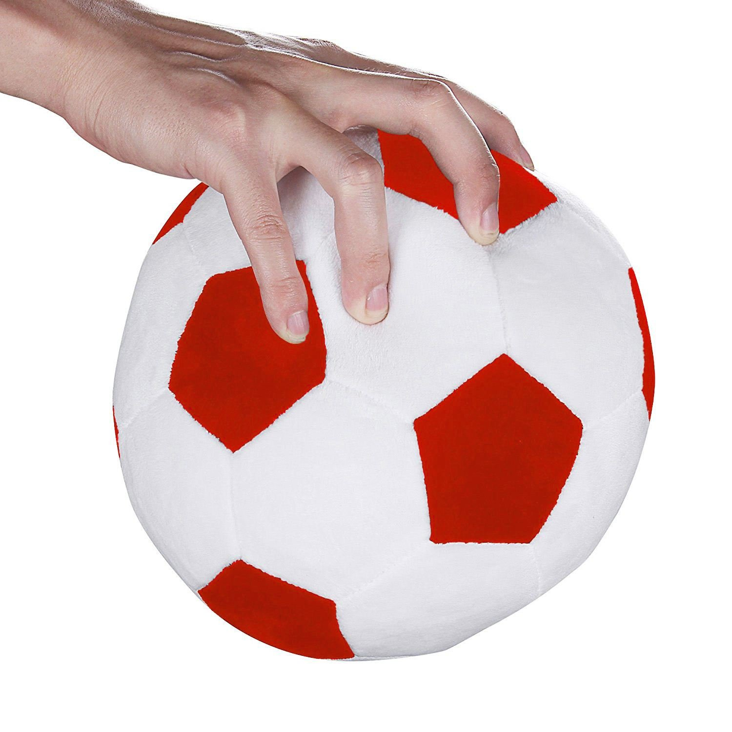 SODIAL Soccer Sports Ball Throw Pillow Stuffed Soft Plush Toy for Toddler Baby Boys Kids Gift Red 8 inch L X 8 inch W X 8 inch H