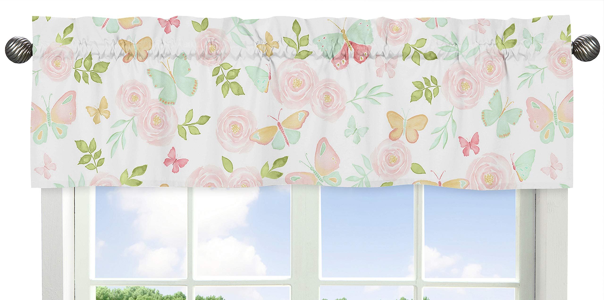 Sweet Jojo Designs Blush Pink, Mint and White Watercolor Rose Window Treatment Valance for Butterfly Floral Collection
