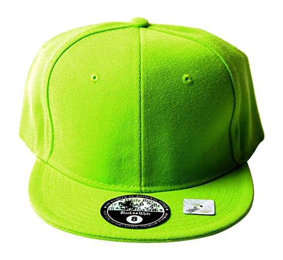 fdbba2639e5aa Amazon.com  Black and White Fitted Acrylic Plain Style Lime Green ...