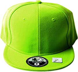 Black and White Fitted Acrylic Plain Style Lime Green Hat