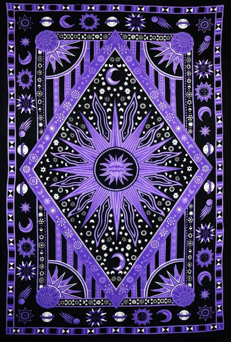 Bless International Psychedelic Celestial Sun Moon Tapestry Planet Bohemian Tapestry Wall Hanging Dorm Decor Boho Tapestry Hippie Hippy Tapestry (Purple, (55 X 85 inches))