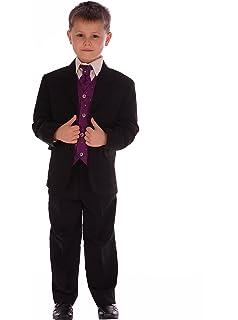 Boys 5PC Formal Dark Grey Suit Italian Design Page Boy Wedding Suits Age 1 to 15
