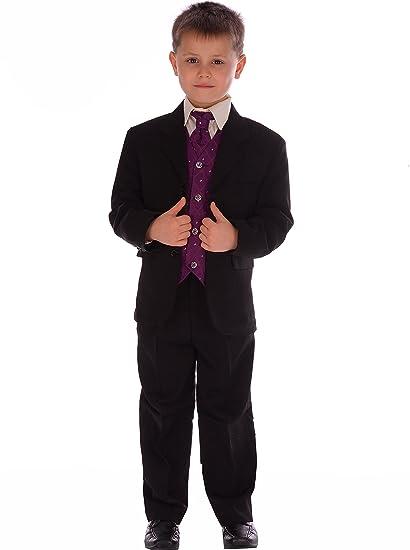 Boys Purple /& Black Suit Boys Waistcoat Suit Page Boy Suits Boys Wedding Suit