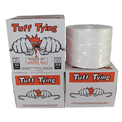Polypropylene Twine (3 ply - 2800 feet) Tuff Tying Polypro Twine Industrial-Grade - SGT KNOTS - UV, Moisture, Chemical Protection - Commercial Bundling & Packaging - Center-Pull Box Dispenser (White): Home Improvement