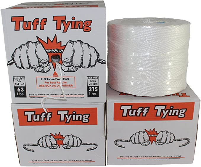 2 x 2 Polytuf Guy Ropes 6mm Heavy Duty White ,+4x250mm Nail Type Pegs and Bag