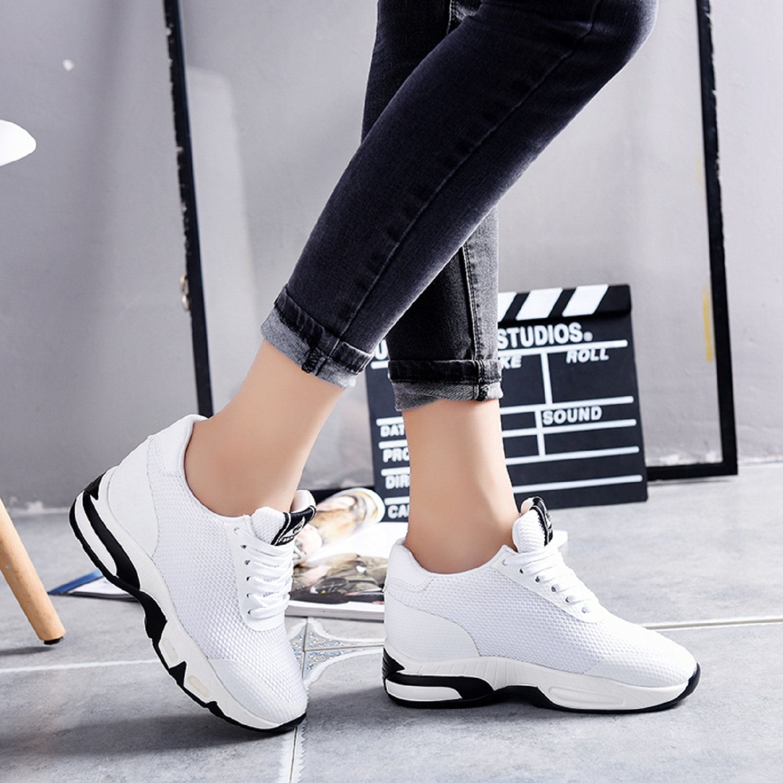 LILY999 Zapatillas Deportivas Cuña de Mujer Tacón Cuña 8CM Rojo Negro Blanco: Amazon.es: Zapatos y complementos