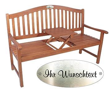 Gartenbank holz mit tisch  Amazon.de: Gartenbank mit Gravur von Ihrem WUNSCHTEXT mit Tisch in ...