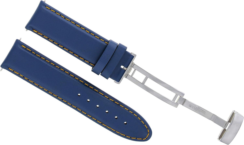 18 – 19 – 20 – 22 – 24 mm本革時計バンドストラップSmooth Clasp for Seikoブルー# 8 20mm Blue with Orange stitching