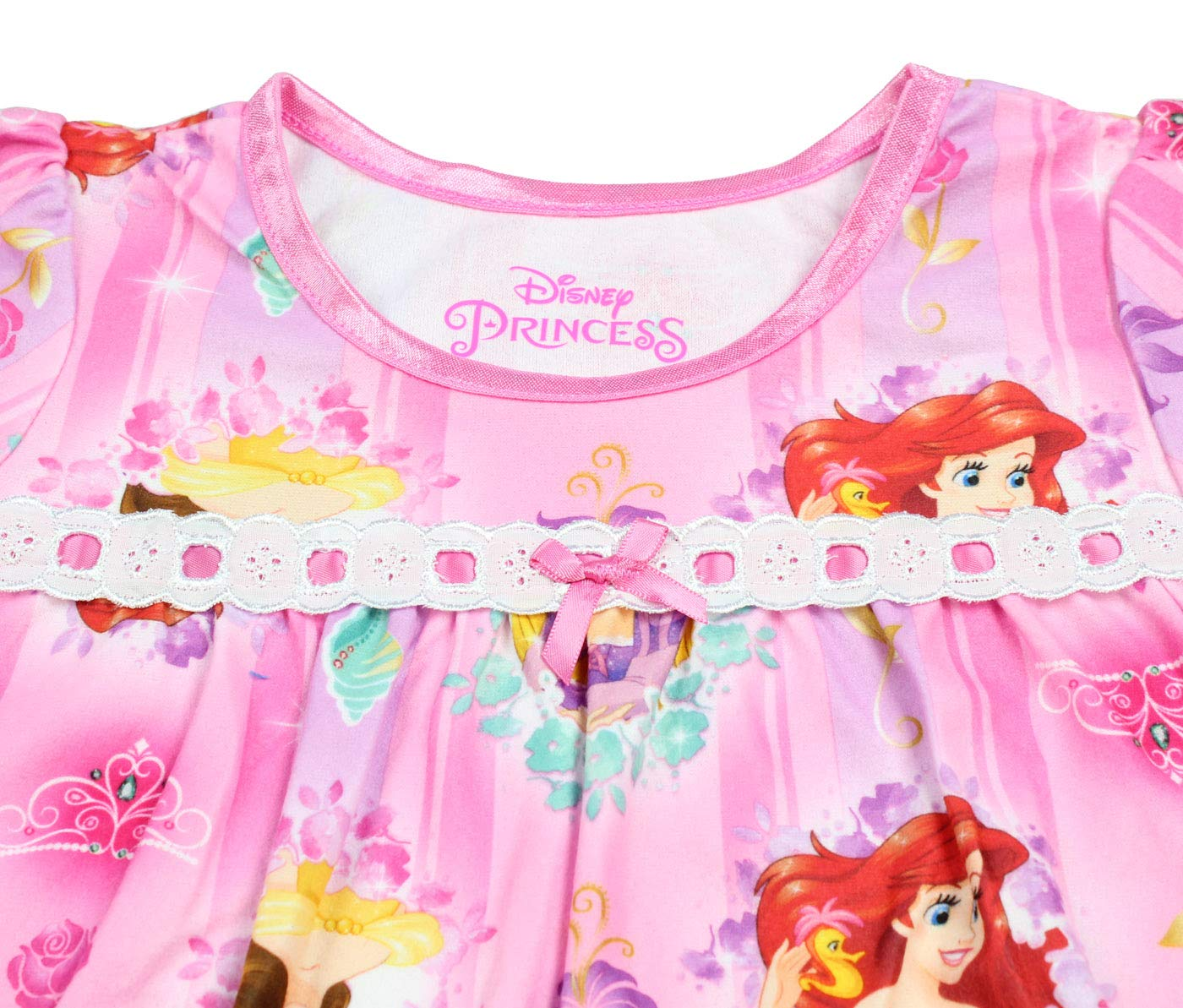 Disney Princess Toddler Girls Long Sleeve Flannel Granny Gown Nightgown Pajamas (3T, Pink) by Disney (Image #4)
