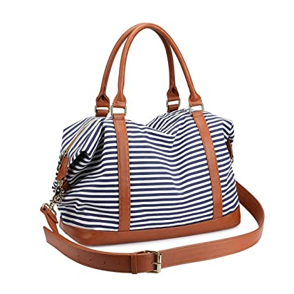 432ecde65cf Women s Travel Duffle Bags, LOSMILE Ladies Canvas Weekend Overnight Carry  on Shoulder Tote Bag Holdall Luggage Bags (Navy Blue Stripe)  Amazon.co.uk   ...