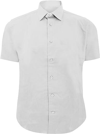 Russel Collection - Camisa Ajustada de Manga Larga Cuidado facil Modelo Fitted Hombre Caballero - Trabajo/Boda/Fiesta