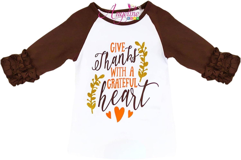 Angeline Boutique Clothing Girls Halloween Thanksgiving Christmas Ruffles Sleeves Raglan T-Shirt