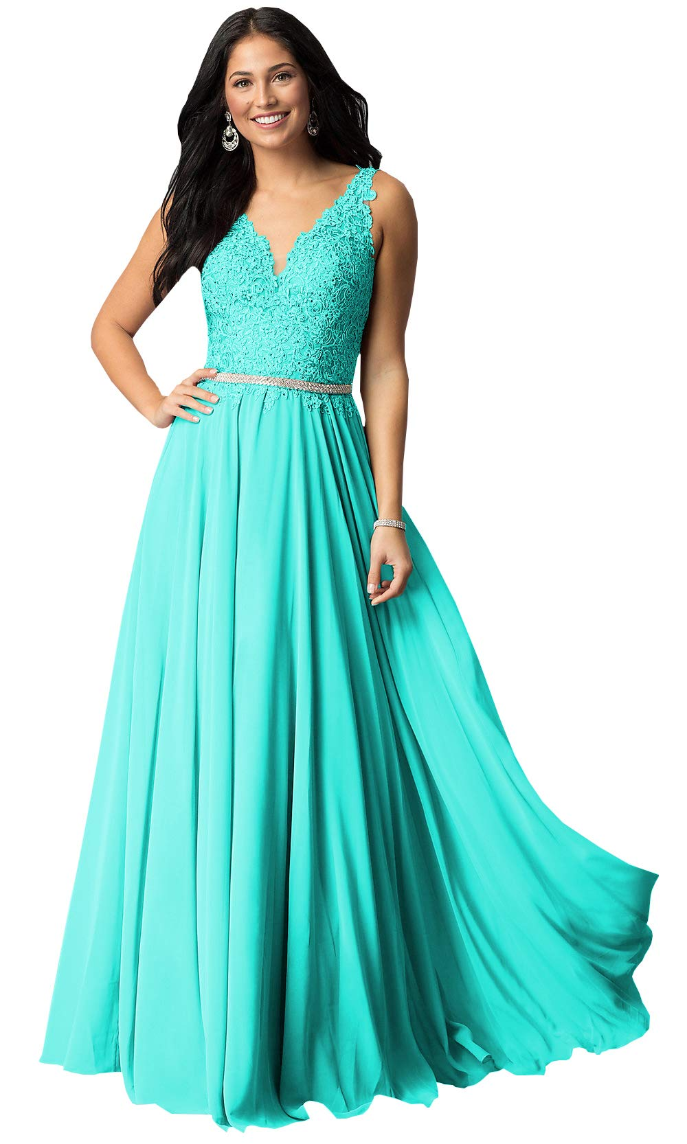 Plus Size V Neck Lace Beaded Chiffon Prom Dresses Long Formal Evening Party  Gown (Turquoise,18W)