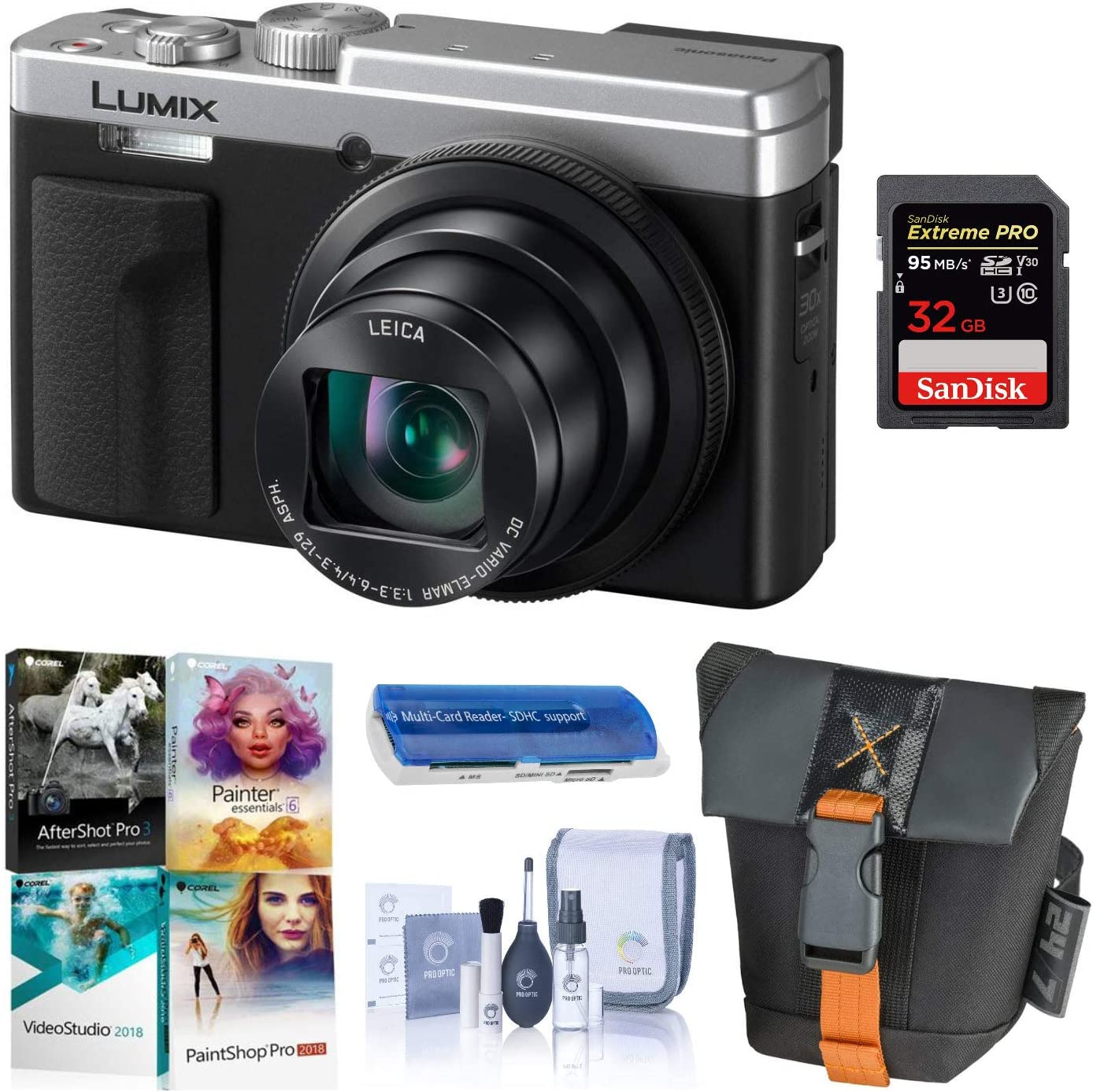 Panasonic LUMIX ZS80, 20.3 Megapixel Digital Camera, 4K Video, 30X Zoom Leica Lens DC-ZS80S (Silver), Bundle with Camera Bag, Corel PC Software Pack, 32GB SD Card, Cleaning Kit, Card Reader