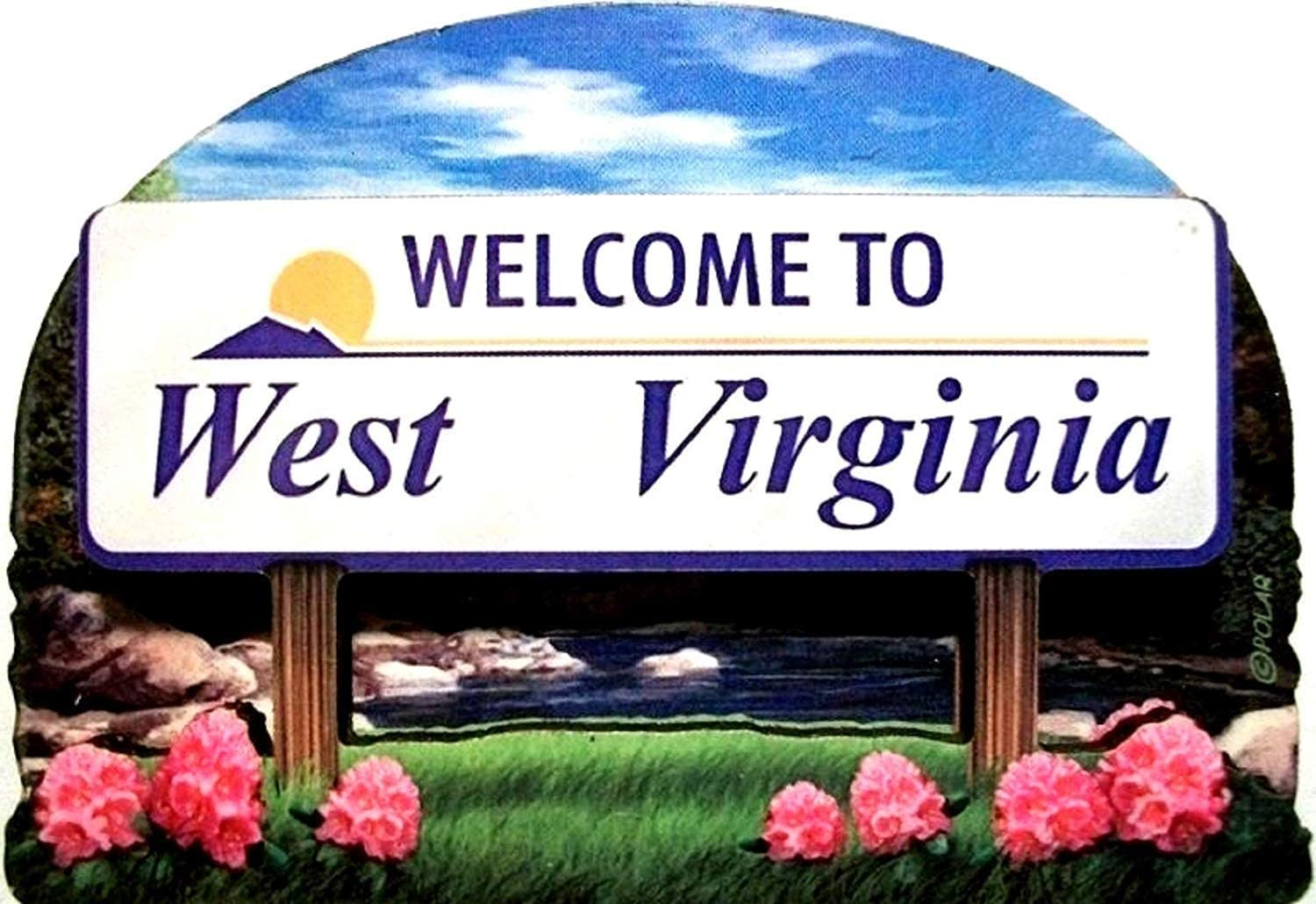 West Virginia State Welcome Sign Wood Fridge Magnet 2