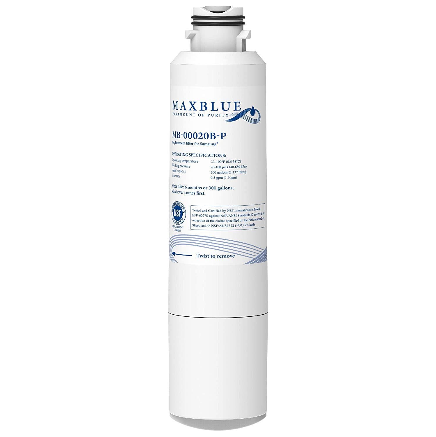 Maxblue NSF 53&42 Certified DA29-00020B Refrigerator Water Filter, Replacement for Samsung HAF-CIN/EXP, DA29-00020A/B, DA97-08006A, RF28HMEDBSR, RF4287HARS, RF263TEAESG, RH22H9010SR, Pack of 1