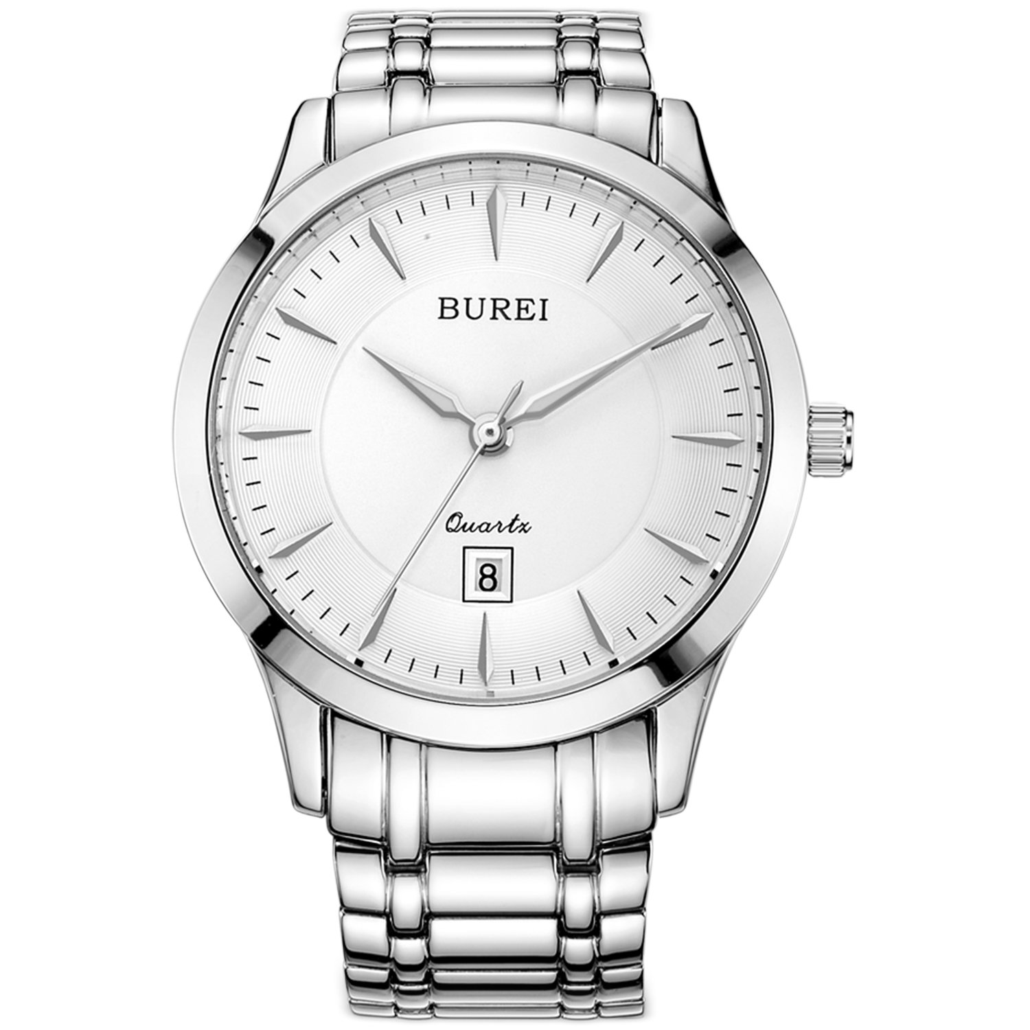 BUREI Men Women Watches Automatic Watch Classic Quartz Wrist Watch Fashion Analog Dial Round Case Stainless Steel Band and Leather Strap (L-3005-P51AY-1)