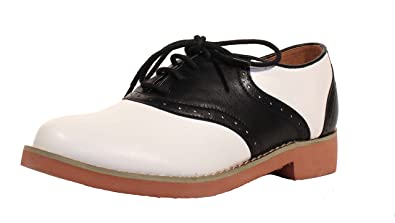 bdafbc5ef5 Amazon.com | Chelsea Crew Sally Two Tone lace up Oxford - Black ...