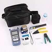 Gessemce FTTH Kit de Herramientas de Fibra óptica Fiber Cleaver FC-6S Medidor de Potencia óptica Cable Pelacables Localizador Visual de fallas 5mW
