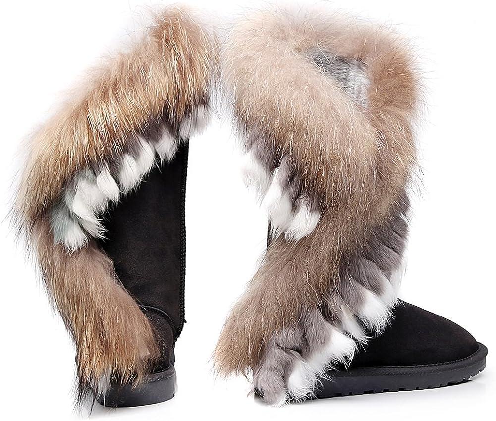 Jamron Mujer Gama Alta Ante Medio Botas de Nieve Forro Térmico de Lana Invierno Botas de Vestir Gris gXPcB