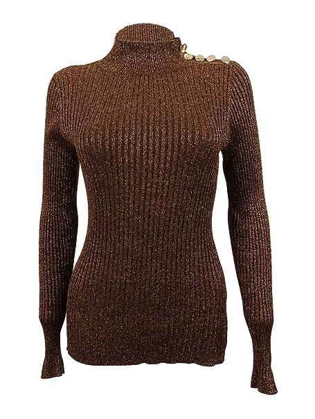Amazoncom Inc Womens Ribbed Knit Metallic Mock Turtleneck Sweater