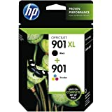 HP 901 - Pack de ahorro de 2 cartuchos de tinta Original HP 901XL de álta capacidad Negro, HP 901 Tricolor para HP OfficeJet J4580, J4660, J4680